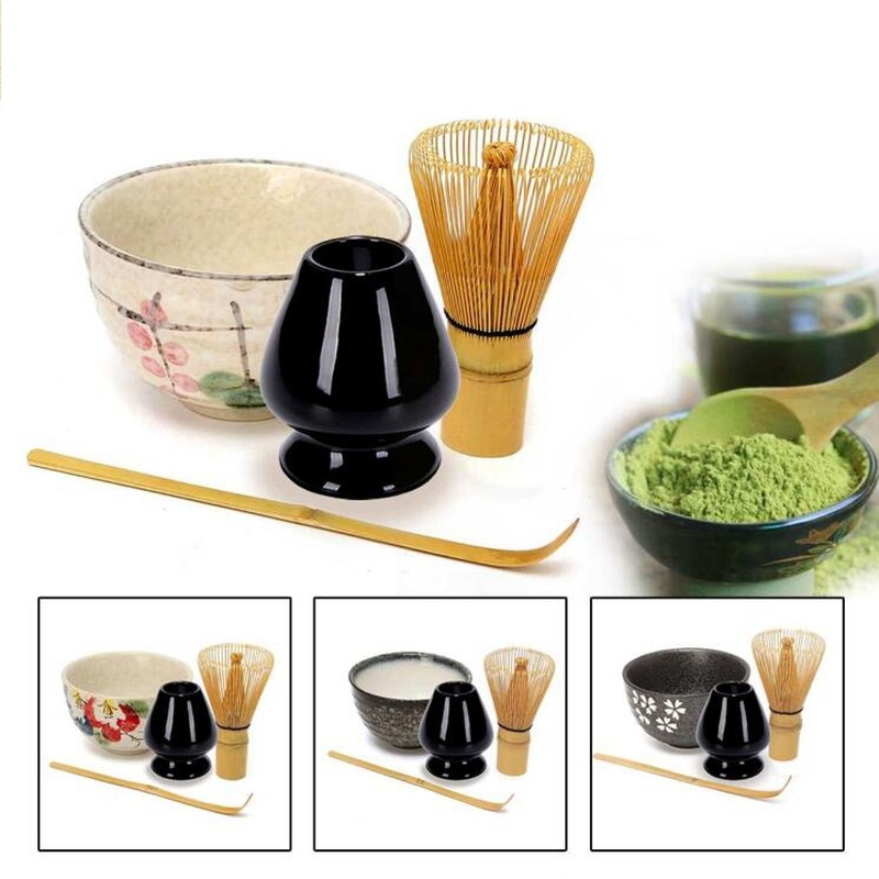 4 in 1 Tea Ceremony Matcha Ceramic Tea Bowl Bamboo Tea Scoop Matcha Whisk Japanese Teaware Tea Tool 4 Style Matcha Bowl Set