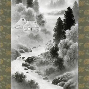 Japanese Wall Scroll – Rural Scene