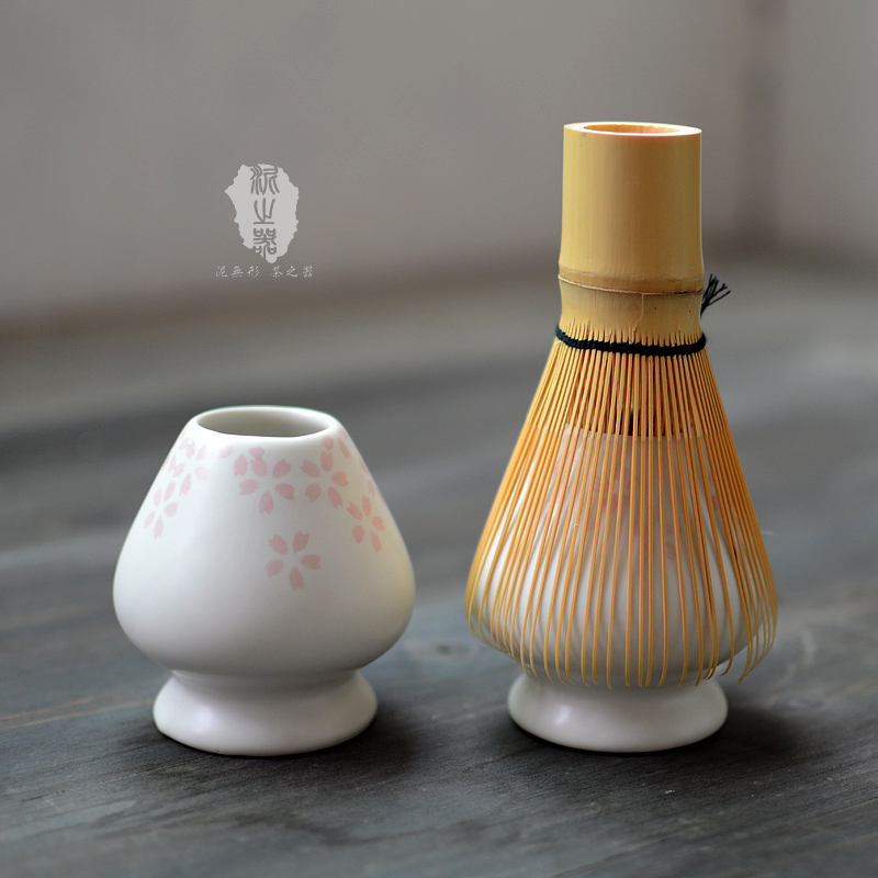 Ceramic matcha green tea whisks holder set place Japanese stand chasen tea brush base seat Japan nature matcha ceremony articles
