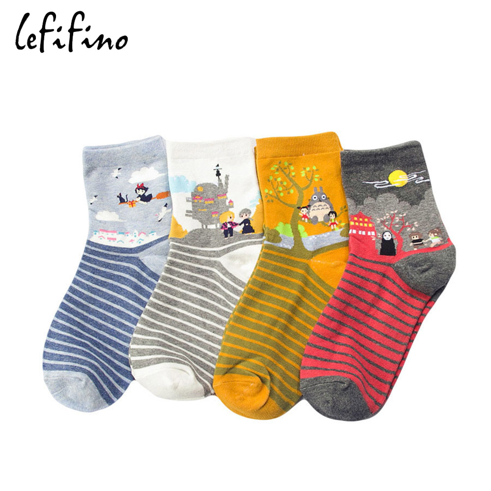Cute Cartoon Spirited Away Ghibli Miyazaki Anime Women Cotton Socks Harajuku Character Totoro Stripes Funny Crew Socks Le68240