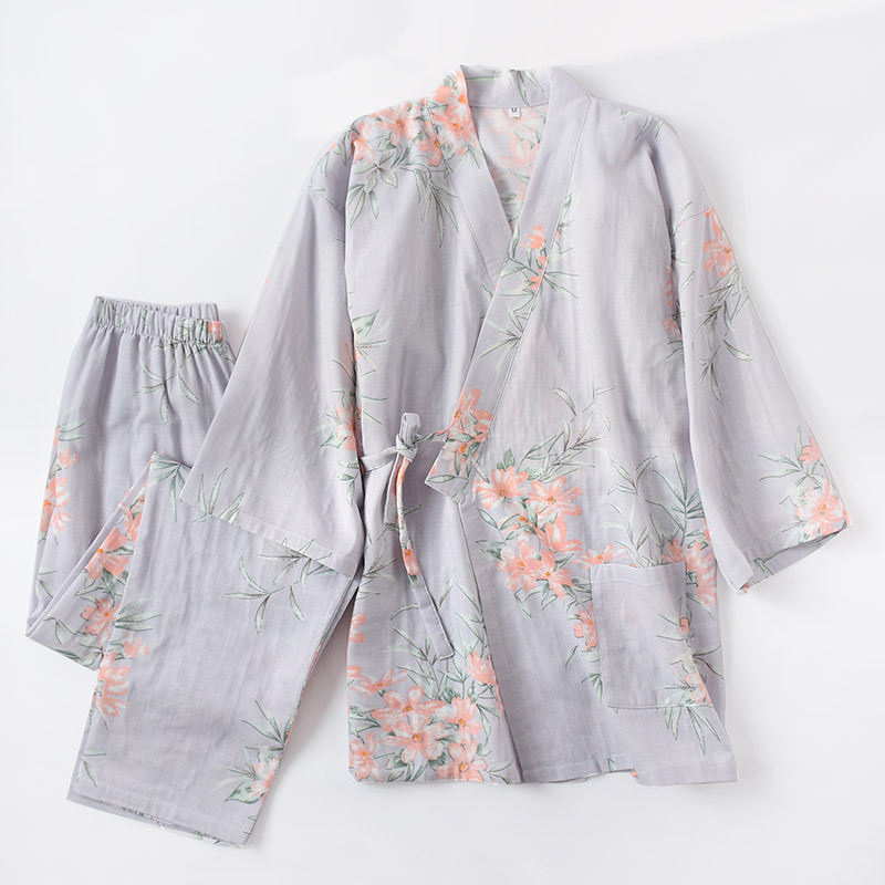 Japanese Kimono Pajamas Set Pure Cotton Double-deck Gauze Women Autumn Yukata Suit Thin Printing Japan Sweat Steaming Suit New