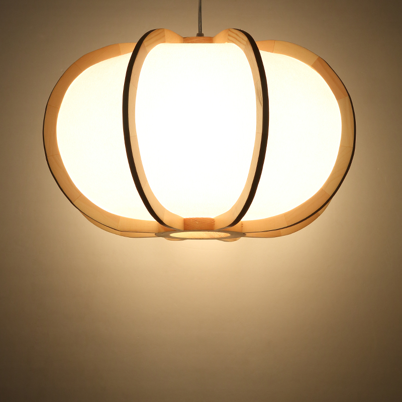 Japanese Style Hanging Lantern Washitsu Decor Lamp Wood Restaurant Living Room Hallway Indoor Lighting Wooden Pendant Lamp Light