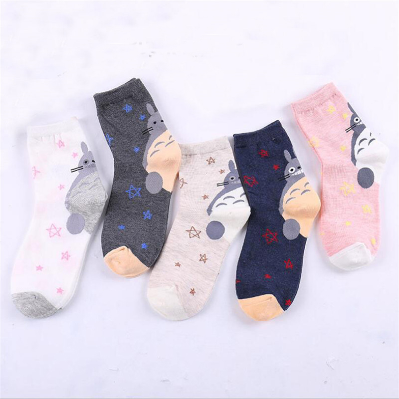 New Creative Funny Novelty Totoro Animal Women Fashion Cute Socks Lovely Cartoon Harajuku meias short tube crew for women