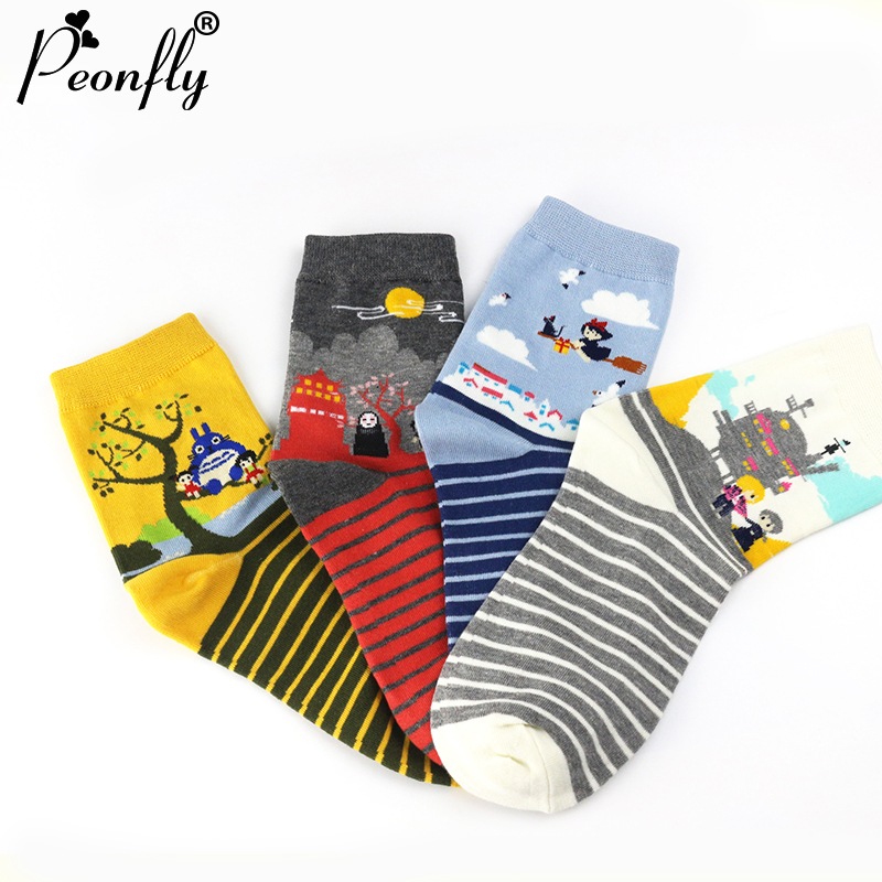 PEONFLY New Striped cartoon fairy tale Animation Totoro sox Autumn Summer South Korean women's Fashion Cotton tube Socks