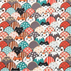 Kawaii Cats and Eggs Kimono Fabric