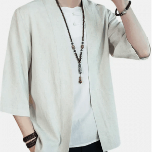 Mens Japanese Linen Loose Jacket Casual