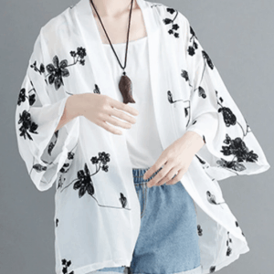 Floral Embroidered Long Sleeve Vintage Kimono For Women