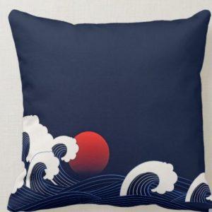 JAPANESE STYLE BIG OCEAN WAVES AT NIGHT CUSHION