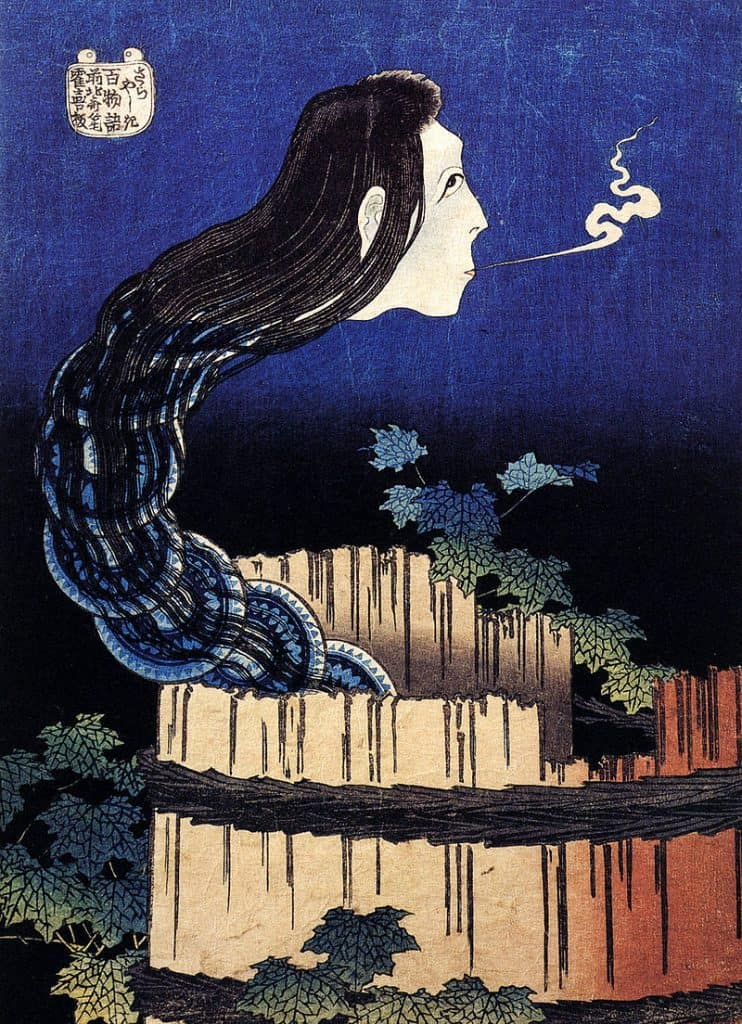 Bancho Sarayashiki Woodblock Print by Hakusai